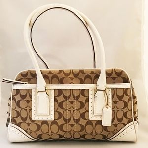 Coach Khaki Jacquard Shoulder Bag